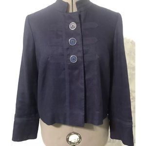 Lilly Pulitzer Navy Linen Blend Short Jacket - 4